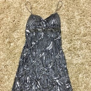 Dresses & Skirts - Juniors Sz 5/6 Thin Strap Silver Sequin Dress